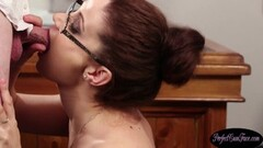 Naughty Redhead euro gets cum sprayed in office Thumb