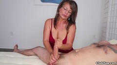 Kinky Brunette MILF tugs her man Thumb