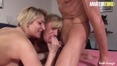 Kinky Nasty German Matures Share Cock In FFM Thumb