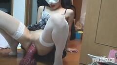 Massive Dragon Dildo Wrecks Her Pussy Thumb