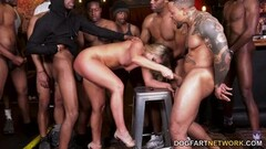Blonde Candice Dare fucked in Interracial Gangbang Thumb