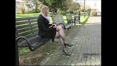 Blonde tempting in her stylish high thin stilettos Thumb