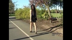 Stiletto brunette clack swish in high heel shoes Thumb