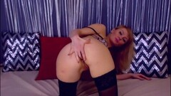 Cute College Blonde Bangs Her Tight Ass Thumb