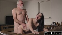 Cute Teen Interrupts Grandpa from Yoga And Sucks his Cock Thumb
