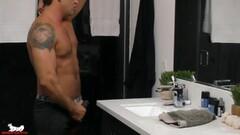 Sexy Latino Stud shows us his thick uncut cock Thumb