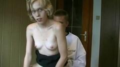 Blonde sucking cock in public Thumb