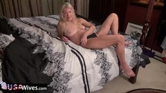 Blonde wife rubs her warm pussy Thumb