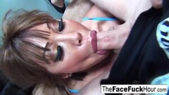 Kinky MILF Gets Her Face Fucked by Two Cocks! Thumb