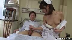 Naughty Japanese nurse, Reina Wamatsu rubs dick, uncensored Thumb