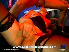 German blonde hottie fucking and sucking two cocks Thumb