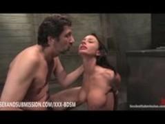 Tied brunette babe gives blowjob with facial Thumb