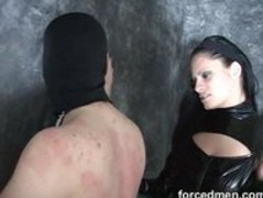Mistress dominates and beats up her poor naked masked slave Thumb