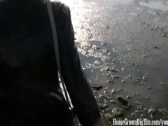Busty Blonde European Fucked Hard on Beach Thumb
