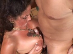 Naughty cougar in stockings and a big dick - Feline Films Thumb