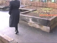 British BBW Housewife In Sexy Nylon Pantyhose Voyeur Flashing In The Park Thumb