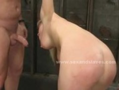 Busty sucking cock and fucked in rough slavery sex and deepthroat Thumb