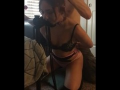 Tied up teen brat gets her gag reflex trained with lollipop Thumb