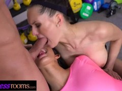 Fitness Rooms FFM Threesome Euro babes taking dick doggystyle and cowgirl Thumb