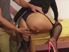 fucked with panties, high heels, she screams and cum on the ass Thumb