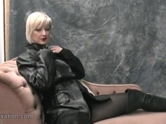 Horny blonde rubs big tits with leather masturbates in pantyhose and femdom teases with whip Thumb