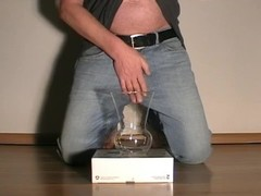 Man pissing and cumming in a glass. Men peeing piss pee goldenshower golden shower watersports wet c Thumb