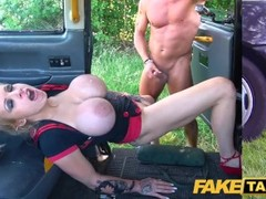 Fake Taxi Busty dirty talking blonde squirting Milf fucked in cab Thumb