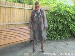 Kinky Milf Holly Kiss takes off PVC mac and wanks openly on public bench in black nylons garters and Thumb