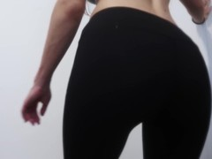 College girl shows off her perfect ass in yoga pants striptease Thumb