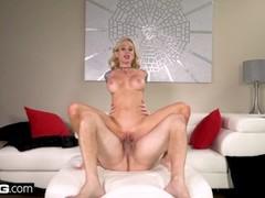Real MILFs - MILF Sarah Jessie gets cum on her big tits Thumb