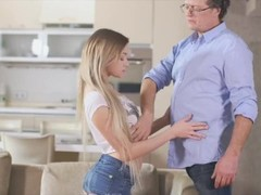 OLD4K. Mature man with glasses can't resist in front of teen babe Thumb