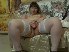 Young bbw undressing showing his figure and masturbating Thumb