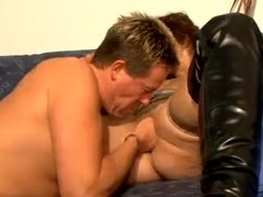 cuckhold, wife in thigh-high boots wader, fisted and tumbled all four legs up in the air Thumb