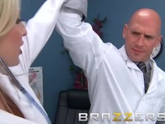 BRAZZERS - Two slutty nurses, Christie Stevens & Jacky Joy service doctor's  cock Thumb