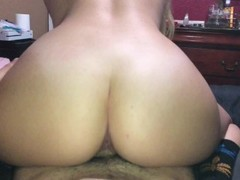 Thick blonde babe riding daddy in reverse cowgirl and making him cum hard Thumb
