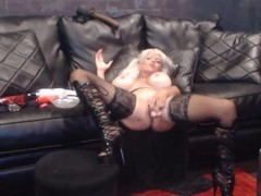 Dirty talking blond femdom mistress Sally with huge tits Thumb