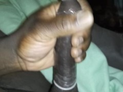 Stroking With A Condom And Moaning Thumb