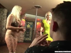 Blonde british slut Michelle Thorne and her girlfriends pole dance suck fuck big cock gangbang Thumb