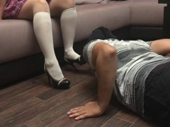 Schoolgirl femdome bound Slave liсk nylon feet shoes facesitting handcuffs Thumb