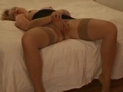 Blonde masturbates on bed before anal photoshoot. Facial Thumb