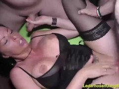 busty tattooed german milf rough group banged Thumb