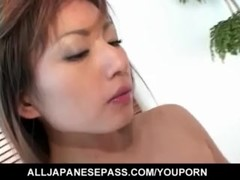 Hitomi Ikeno in fishnets has hairy slit fucked hard after blowjob - More at hotajp.com Thumb
