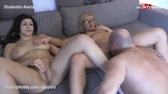 MyDirtyHobby - Shy busty amateur has her first threesome Thumb