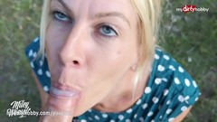 MyDirtyHobby - German MILF blows twice and creampied outdoors Thumb